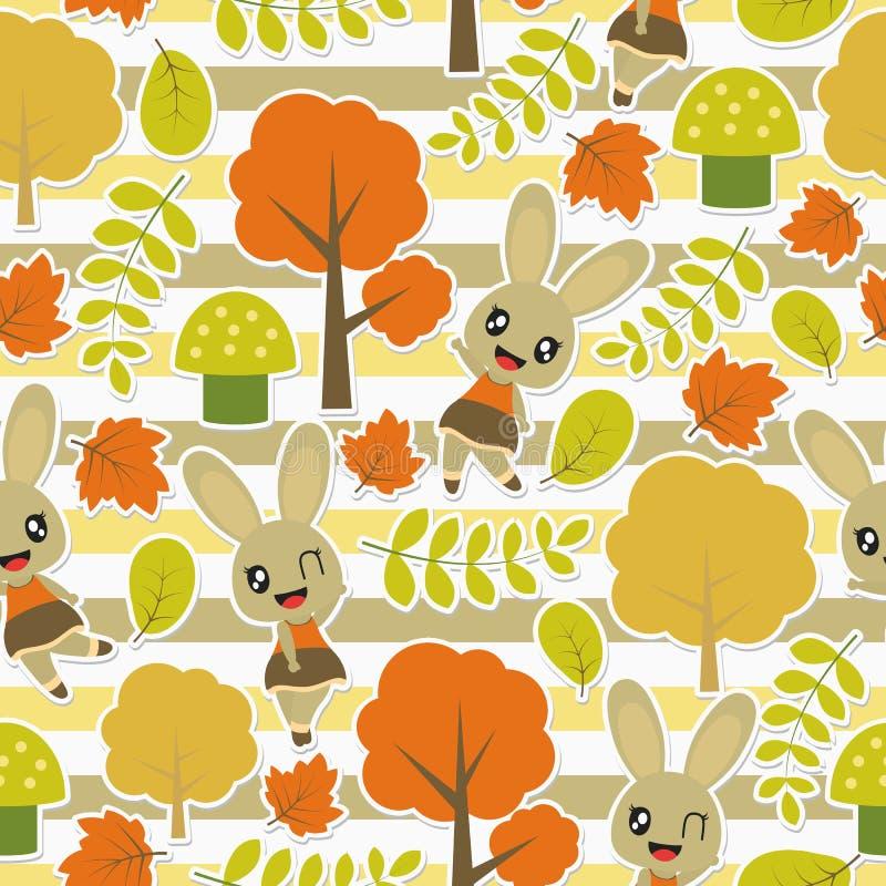 逗人喜爱的兔宝宝的无缝的样式和在镶边背景的秋天元素导航孩子包装纸的动画片例证 库存照片