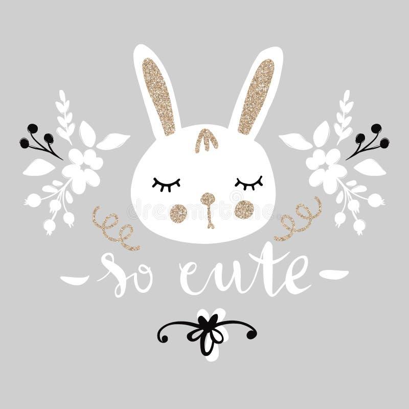 逗人喜爱的兔宝宝 滑稽的例证 与金黄闪烁的可爱的兔子 图库摄影