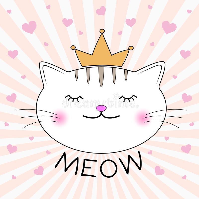 逗人喜爱的全部赌注剪影 猫头与字法词猫叫声的 向量例证