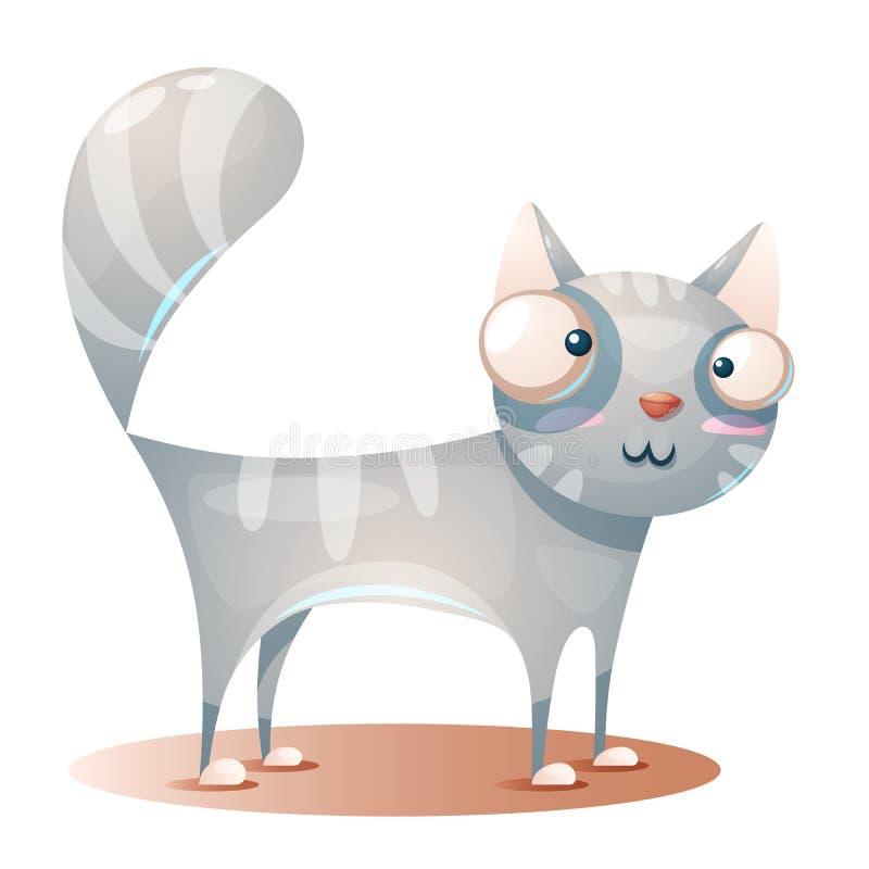 逗人喜爱的全部赌注,猫字符-动画片例证 向量例证