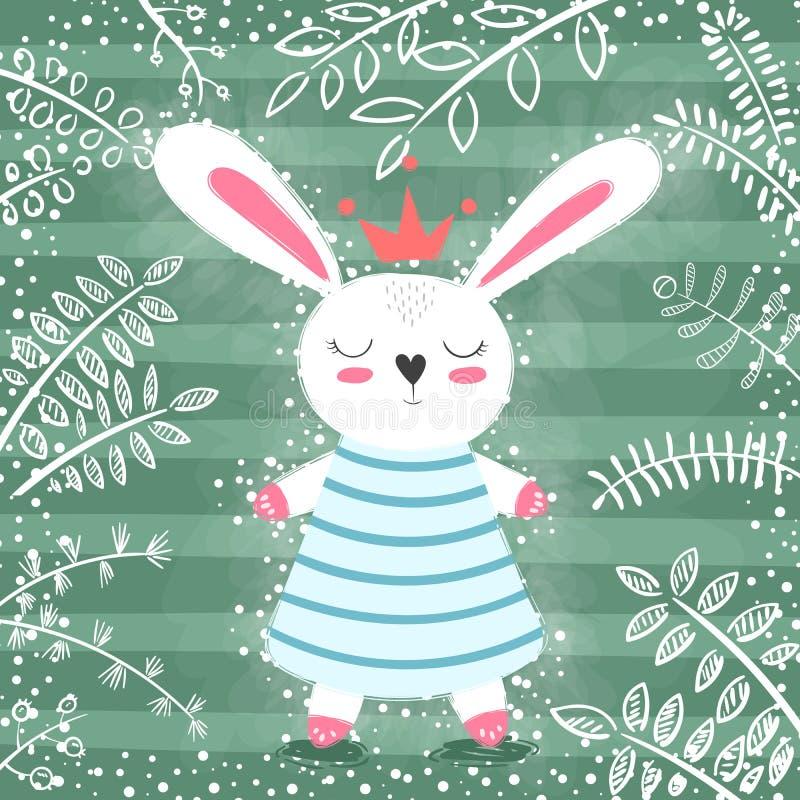逗人喜爱的公主兔子在森林里 皇族释放例证