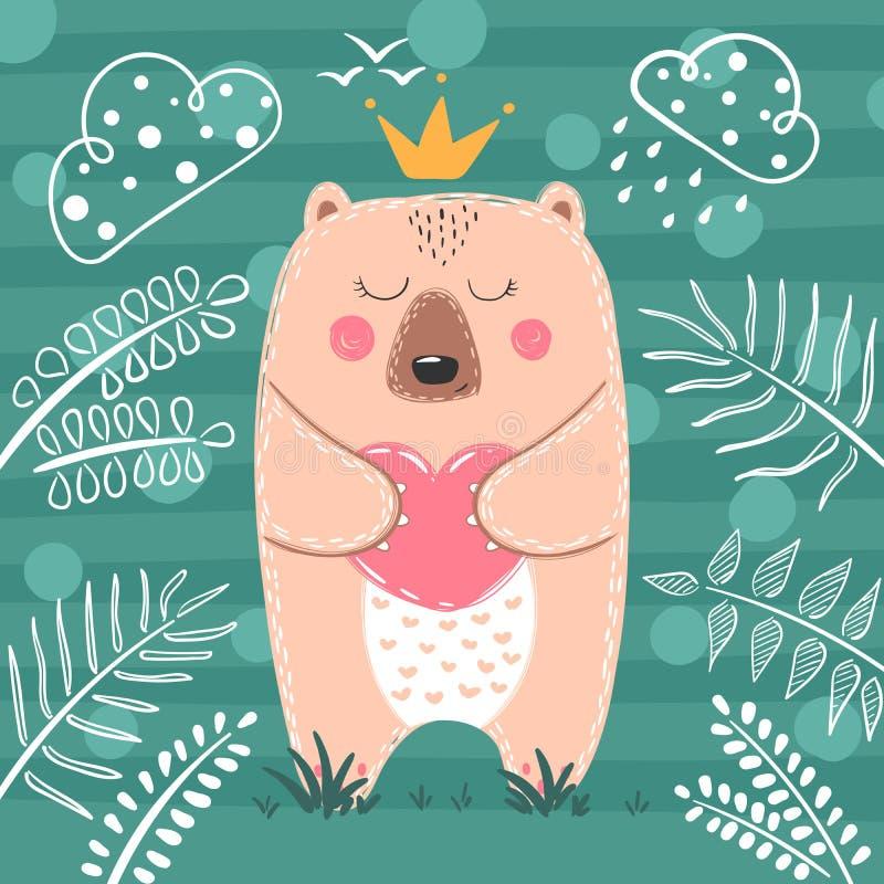 逗人喜爱的公主熊-动画片例证 皇族释放例证