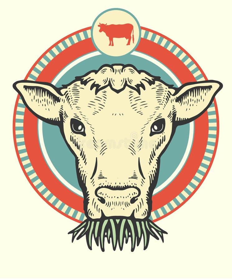 逗人喜爱的公牛标签  库存例证