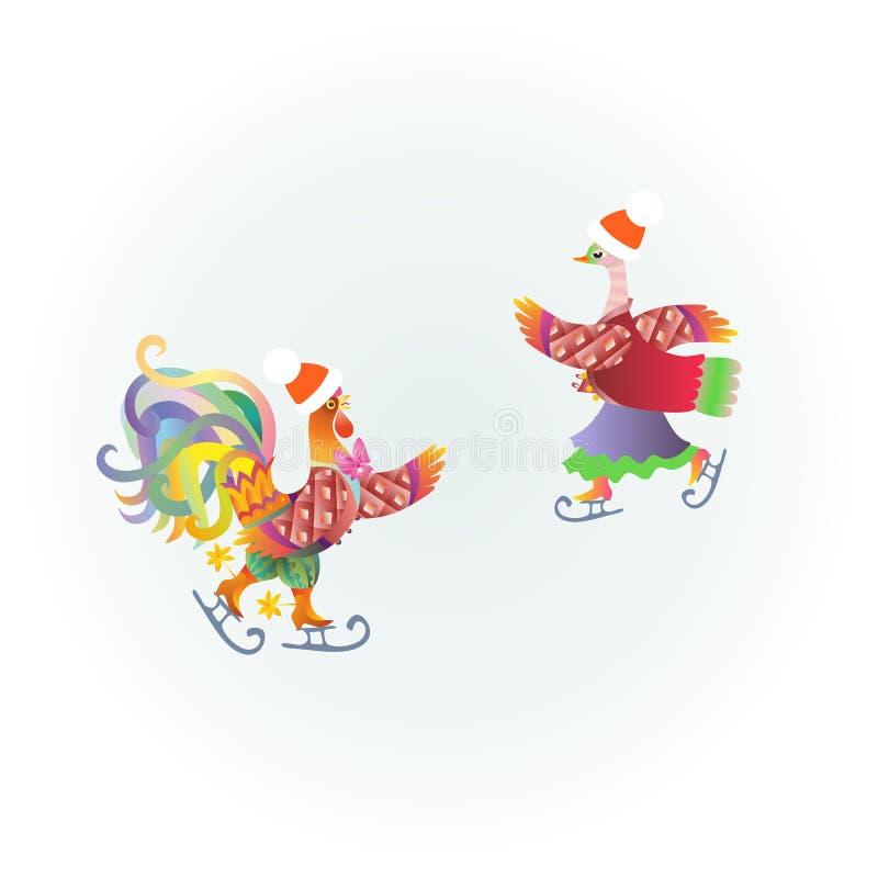 逗人喜爱的公鸡和鸭子在滑冰 美好的传染媒介例证 向量例证