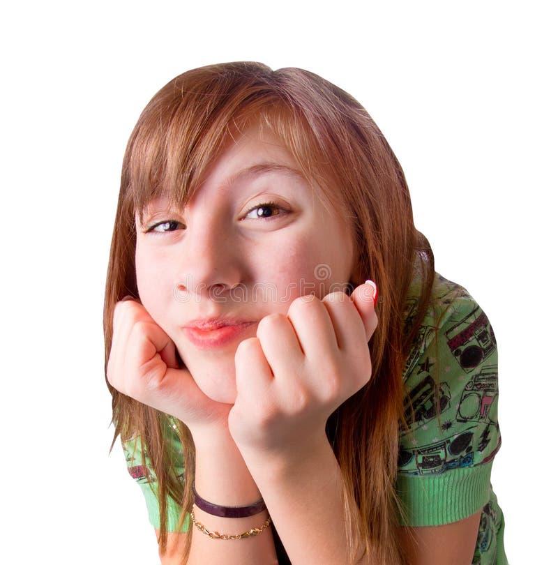 逗人喜爱的兴奋女孩 免版税库存照片