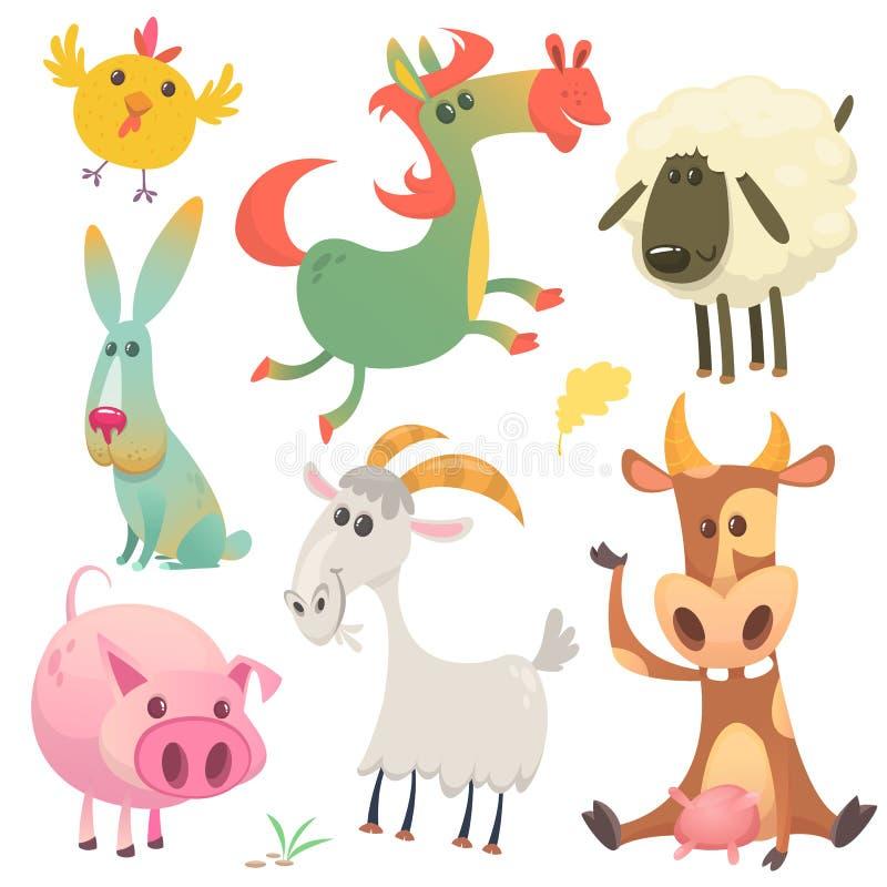 逗人喜爱的农厂小动物设置了汇集 导航母牛、马、鸡、小兔、猪、山羊和绵羊的例证 库存例证