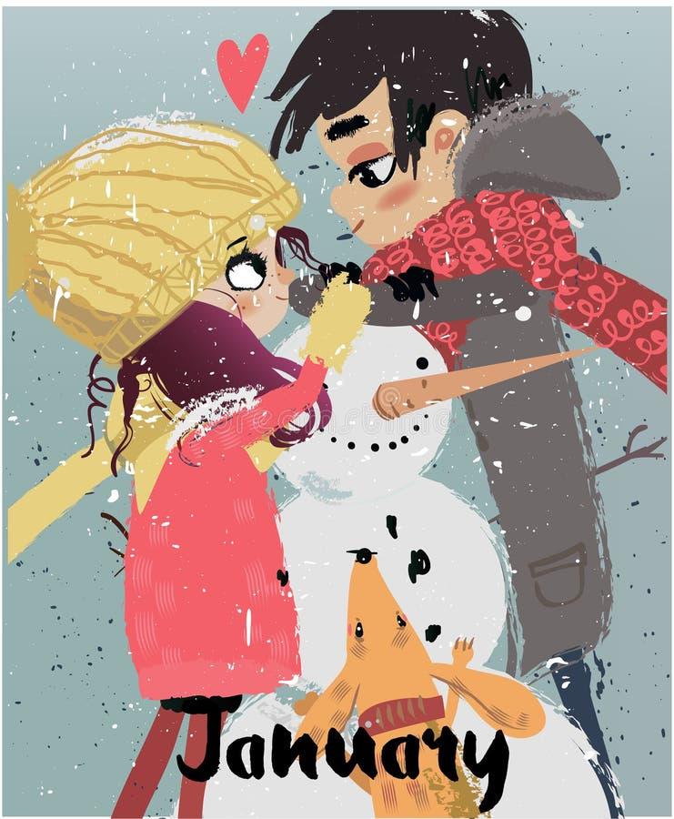 逗人喜爱的冬天动画片夫妇 皇族释放例证