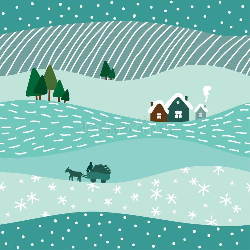 逗人喜爱的冬天风景无缝的样式 向量例证
