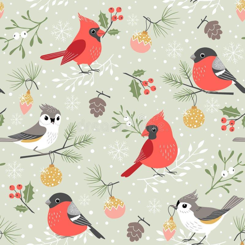 逗人喜爱的冬天鸟圣诞节样式 库存例证