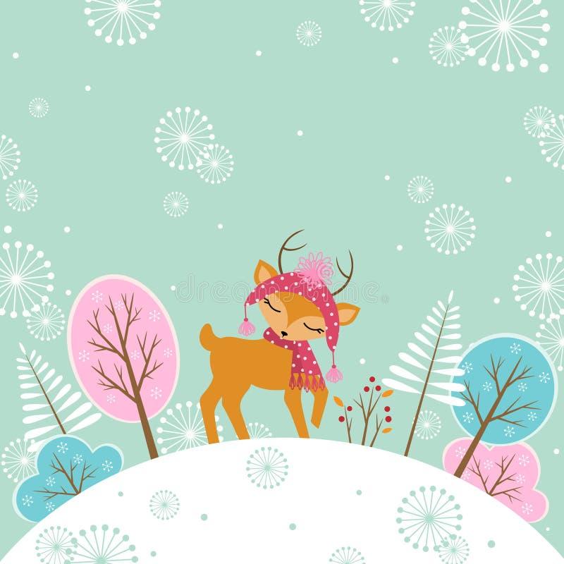逗人喜爱的冬天鹿 向量例证