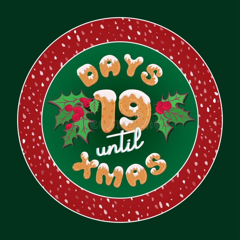 逗人喜爱的减速火箭的假日圣诞卡片 葡萄酒出现日历装饰板材或海报设计的礼物标记与印刷术文本19 皇族释放例证