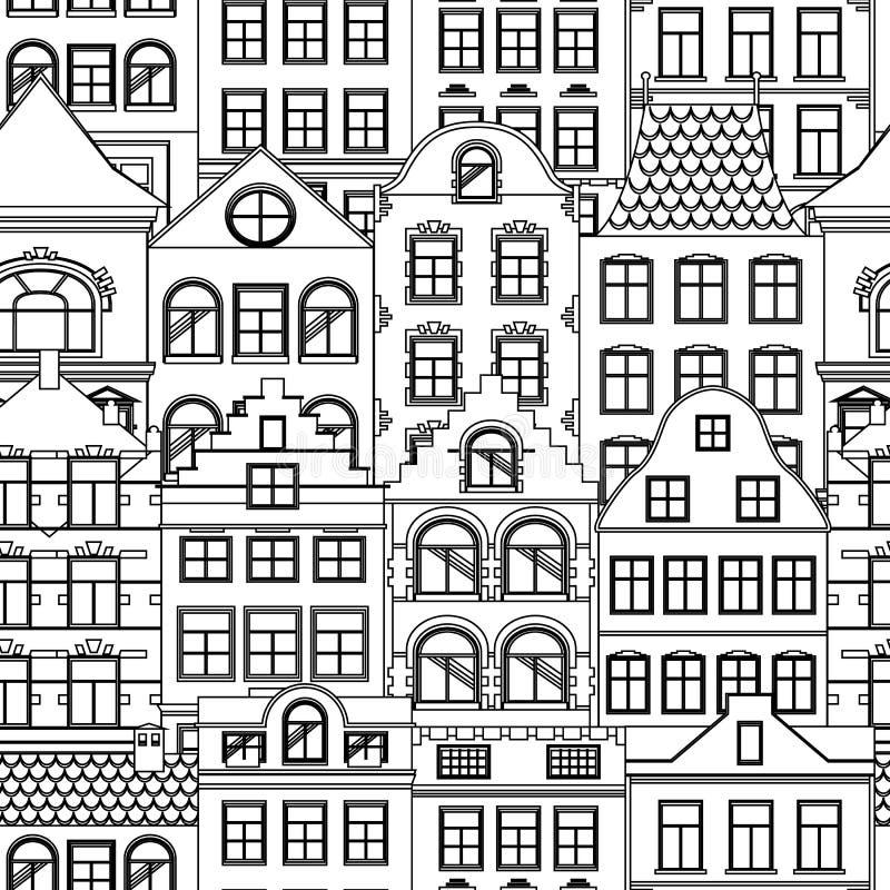 逗人喜爱的减速火箭的房子外部的无缝的样式 欧洲大厦门面的汇集 传统建筑学  库存例证