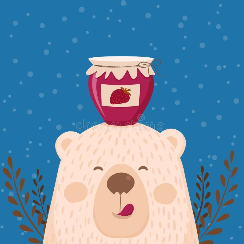 逗人喜爱的减速火箭的手拉的卡片作为滑稽的熊用瓶子果酱 对于孩子菜单,寒假,生日,圣诞节,新年 库存例证