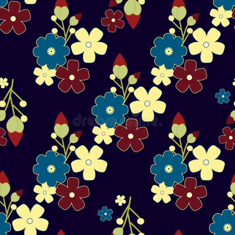 逗人喜爱的减速火箭的花背景,无缝的织品样式 皇族释放例证