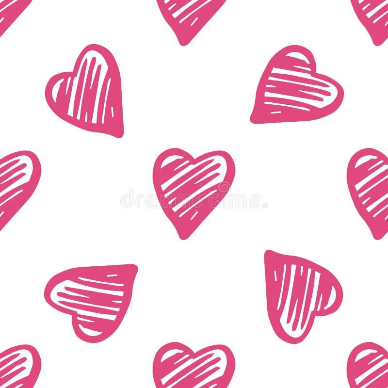 逗人喜爱的几何心脏无缝的样式 2月14日墙纸 库存例证