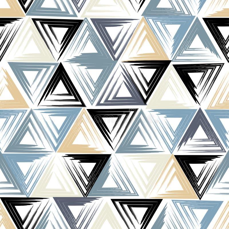 逗人喜爱的几何无缝的样式 刷子冲程,三角 抽象表单 不尽的纹理可以为打印使用在fa上 皇族释放例证