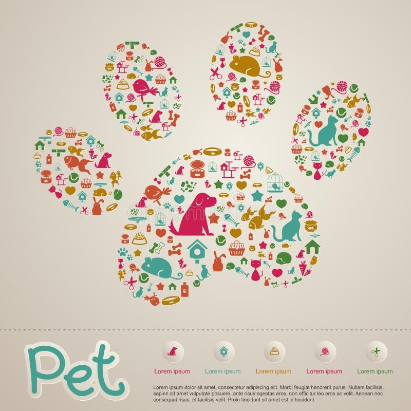 逗人喜爱的创造性的动物和宠物店infographic象小册子bann 皇族释放例证