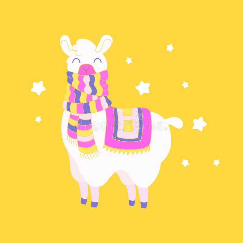 逗人喜爱的加工好的骆马 喇嘛例证传染媒介 幻想动物卡片, T恤杉逗人喜爱的印刷品 皇族释放例证