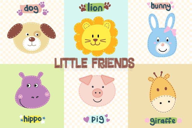 逗人喜爱的动物为婴孩设计面对 动画片动物顶头象 滑稽的字符 套六个传染媒介例证 皇族释放例证