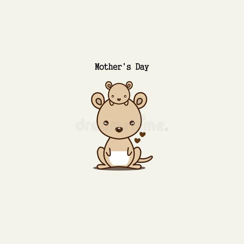 逗人喜爱的动物为母亲节 袋鼠妈妈和婴孩 向量例证
