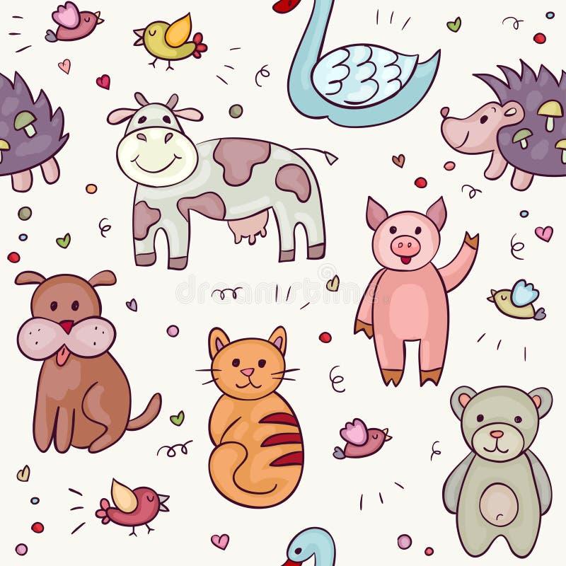 逗人喜爱的动物乱画集合 库存例证