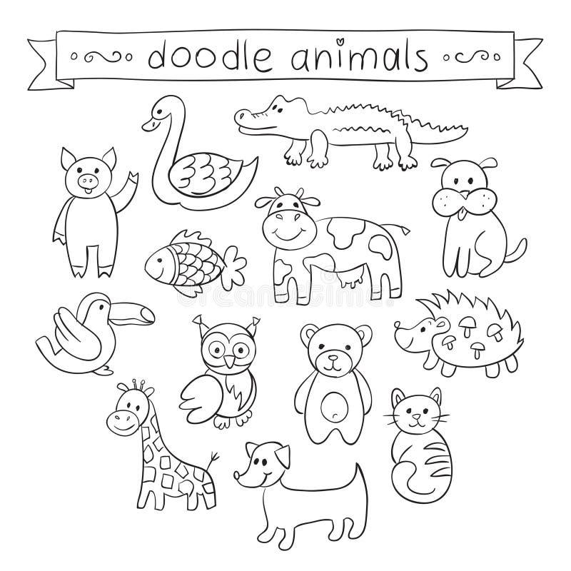 逗人喜爱的动物乱画集合 皇族释放例证