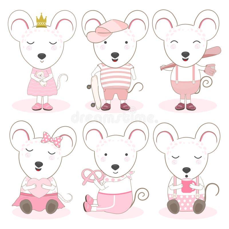 逗人喜爱的动物动画片老鼠集合例证 皇族释放例证