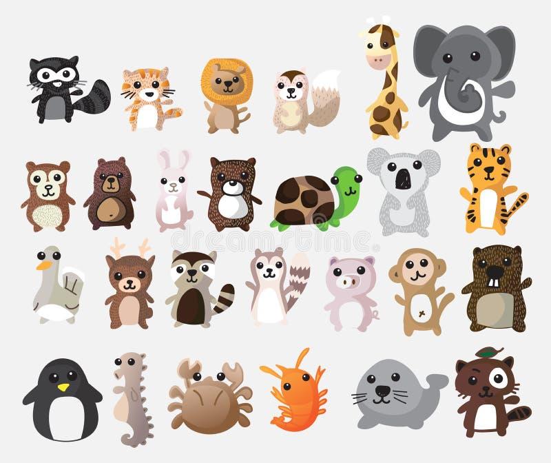 逗人喜爱的动物动画片 例证传染媒介图象 库存例证