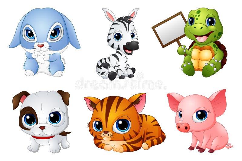 逗人喜爱的动物动画片集合 向量例证