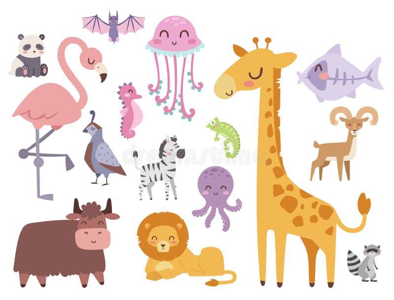逗人喜爱的动物园动画片动物隔绝了滑稽的野生生物学会逗人喜爱的高语言和热带自然徒步旅行队哺乳动物的密林 库存例证