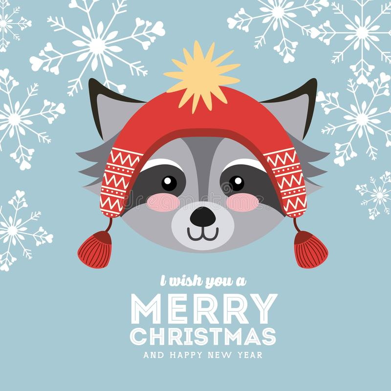 逗人喜爱的动物圣诞快乐被隔绝的象 向量例证