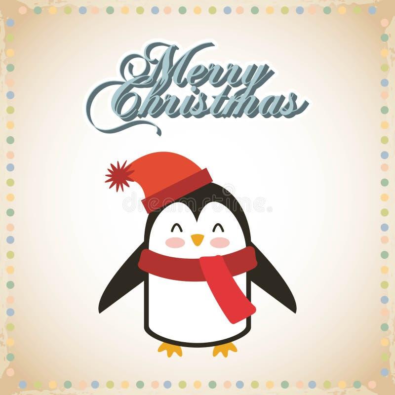逗人喜爱的动物圣诞节庆祝卡片 皇族释放例证