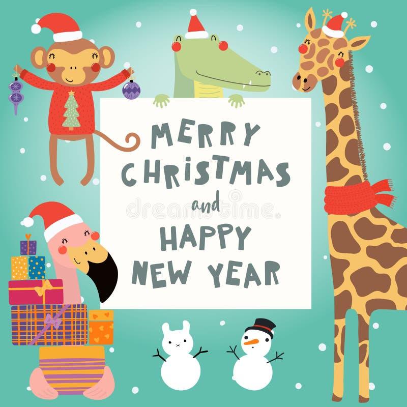 逗人喜爱的动物圣诞节集合 向量例证