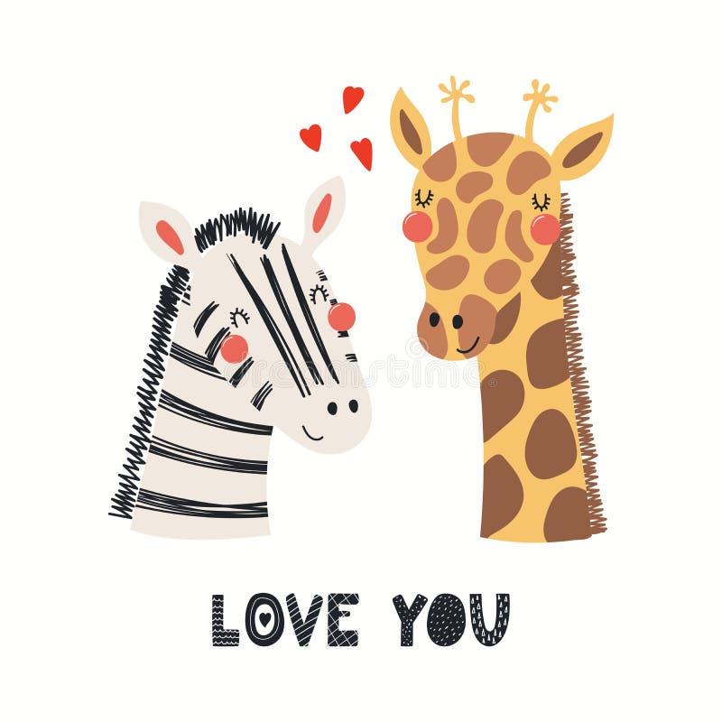逗人喜爱的动物夫妇情人节卡片 向量例证