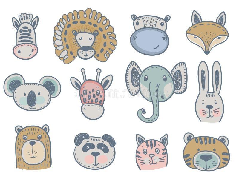 逗人喜爱的动物头的传染媒介汇集婴孩的和孩子设计 向量例证