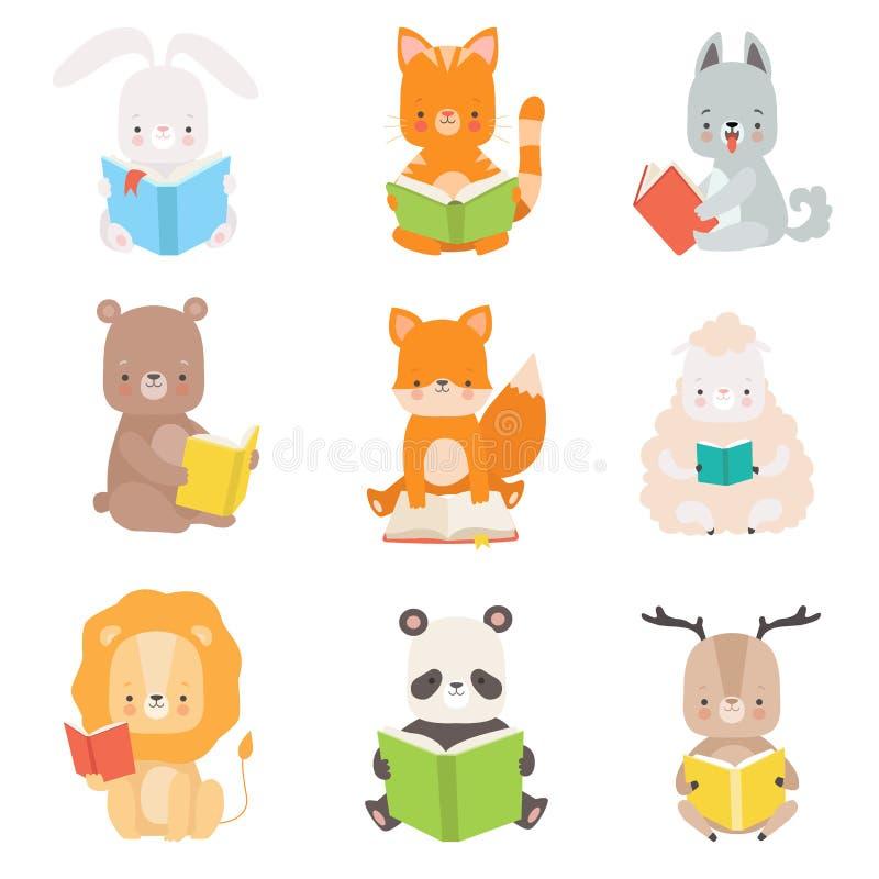 逗人喜爱的动物字符看书设置了,可爱的聪明的猫,熊猫,狮子,羊羔,Fox,狼,兔宝宝,鹿开会 向量例证