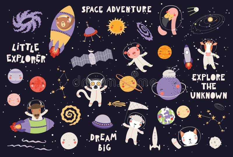 逗人喜爱的动物宇航员集合 库存例证