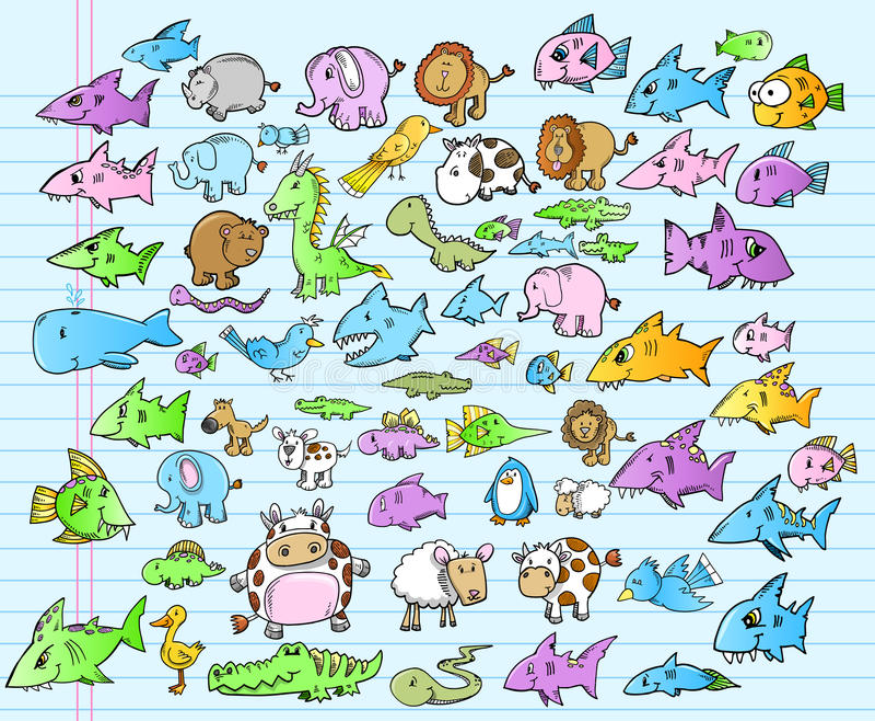 逗人喜爱的动物徒步旅行队海洋夏天集 库存例证