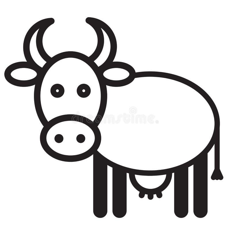 逗人喜爱的动物母牛-例证 库存例证