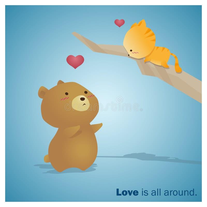 逗人喜爱的动物汇集爱是全部大约3 向量例证