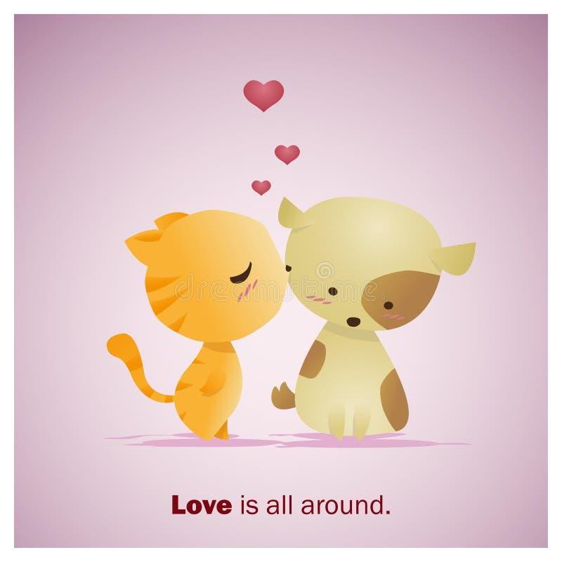 逗人喜爱的动物汇集爱是全部大约1 向量例证