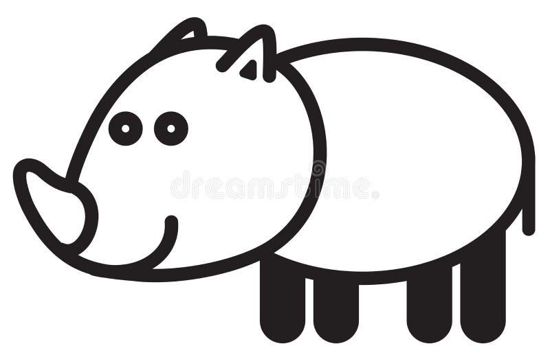 逗人喜爱的动物犀牛-例证 向量例证