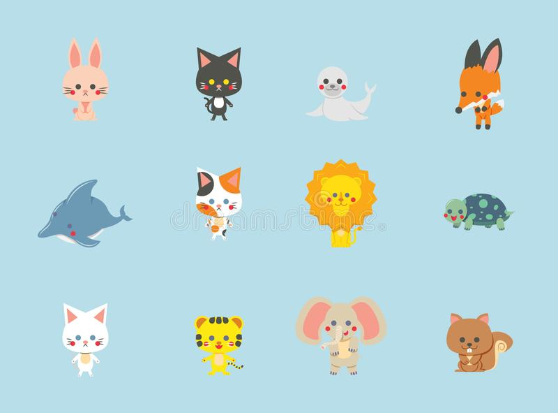逗人喜爱的动物的汇集有蓝色背景,传染媒介,被设置的字符 免版税图库摄影