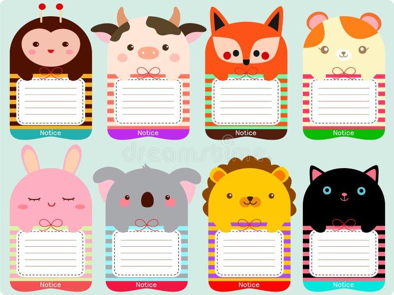 逗人喜爱的动物笔记集合 库存例证