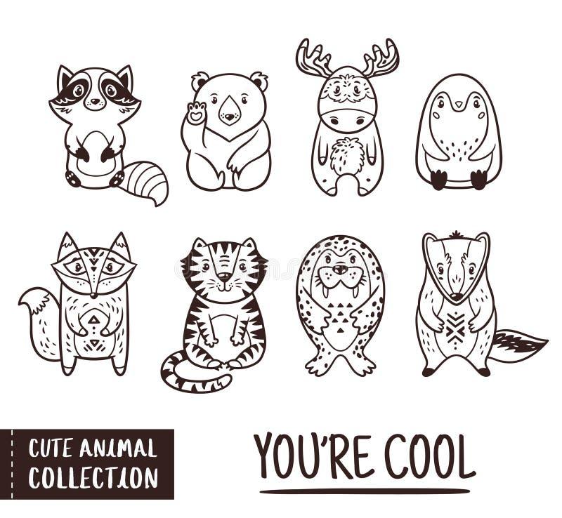 逗人喜爱的动物设置与漫画人物 外形图 向量例证