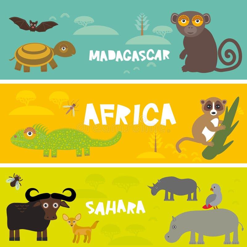 逗人喜爱的动物设置了乌龟棒猴子狐猴公牛河马鹦鹉催催蝇骆驼变色蜥蜴Fennec狐狸,哄骗背景非洲动物, 向量例证