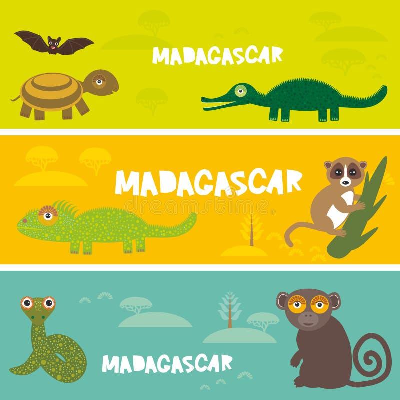 逗人喜爱的动物设置了乌龟棒鳄鱼变色蜥蜴蛇狐猴,哄骗背景非洲动物,非洲马达加斯加明亮的五颜六色的ba 皇族释放例证