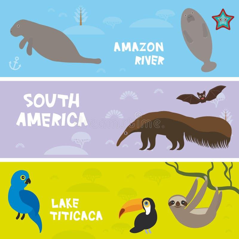 逗人喜爱的动物设置了食蚁兽海牛海象怠惰toucan棒风信花金刚鹦鹉,哄骗背景,南美动物的喀喀湖, A 皇族释放例证