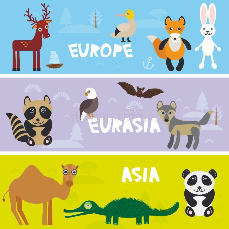 逗人喜爱的动物设置了骆驼鳄鱼鳄鱼野兔兔子狐狸gannet棒鹿老鹰浣熊熊猫狼,哄骗背景欧洲亚洲E 皇族释放例证