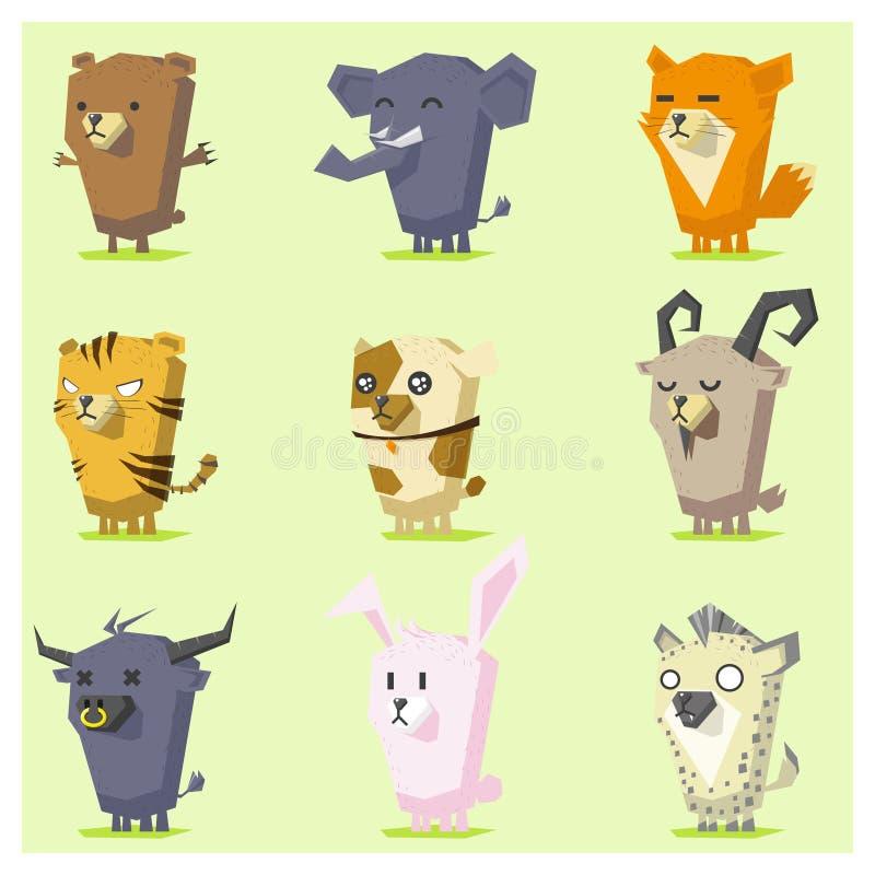 逗人喜爱的动物象设置了4 皇族释放例证